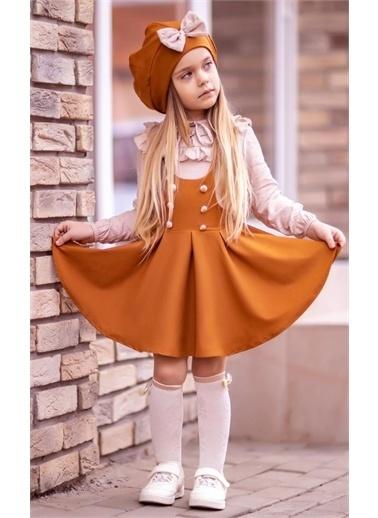 Riccotarz Kız Çocuk Beret Şapkalı Kiremit 4'lü Salopet Takım Renkli